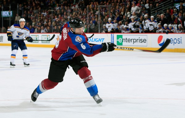 DENVER, CO - DECEMBER 13:  Erik Johnson #6 of the Colorado Avalanche shoots and scores his second goal of the night against the St. Louis Blues to tie the score 2-2 in the second period at Pepsi Center on December 13, 2014 in Denver, Colorado.  (Photo by Doug Pensinger/Getty Images)