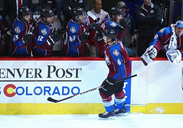 December 13 2014:  Members of the Avalanche congratulate Colorado Avalanche defenseman, Erik Johnson (6) on his second goal of the night during a regular season NHL hockey game between the Colorado Avalanche and the visiting St. Louis Blues at the Pepsi Center in Denver, CO. (Icon Sportswire via AP Images)