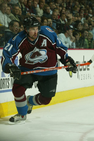 2004 Season: Second period of the game Chicago Blackhawks at Colorado Avalanche on March 23, 2004, and Player Peter Forsberg. (Photo by Bruce Bennett Studios/Getty Images)